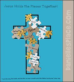 """Bible Cross Craft - Jesus Holds the Pieces Together!"""" Craft for Sunday School fr. - Bible Cross Craft – Jesus Holds the Pieces Together!"""" Craft for Sunday School from www. Bible Story Crafts, Bible School Crafts, Bible Crafts For Kids, Preschool Bible, Bible Activities, Kids Bible, Group Activities, Therapy Activities, Jesus Crafts"""
