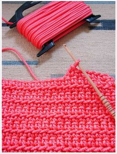 Crochet a rug using nylon rope from the hardware store!