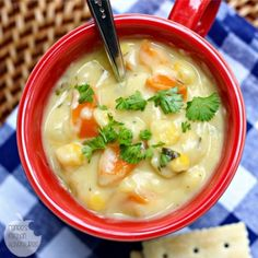 A lighter version of a comfort food favorite, corn chowder. Creamy and rich, yet under 200 calories a serving.