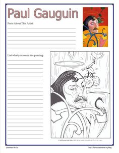 Paul Gauguin Notebook Page Printable from Harmony Fine Arts At Home #art
