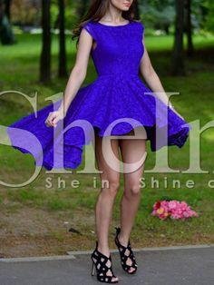 Blue Cap Sleeve V Back Asymmetric Dress 21.99