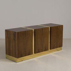Talisman A Milo Baughman Designed Zebra Wood and Metal Cabinet 1970s -