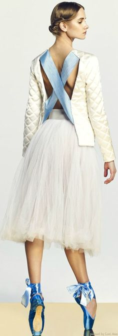 """A La Russe Fall 2014. Obviously, a """"real"""" ballet dancer but fashion tied her pointe shoe ribbons!"""