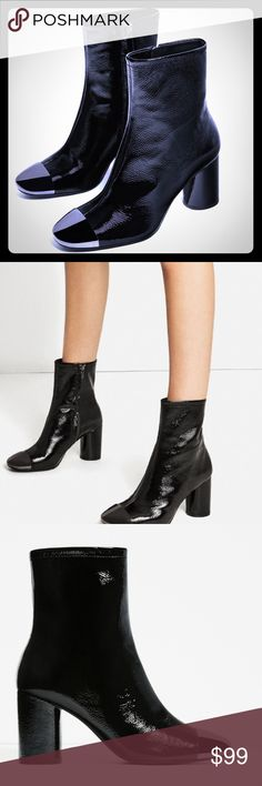 Zara 2017  & wet look leather metal tip booties Creased effect, wet look , 2017, metallic toes tip , super in !!  Sold out available in Sz 37 ,39 pls note posh converts eur Sz to USA  not my conversion, be sure of your Zara Sz fit , Zara Shoes Ankle Boots & Booties