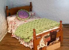 1:12 Scale Miniature Doll Blanket & Pillow Set by GinnysCraftShack