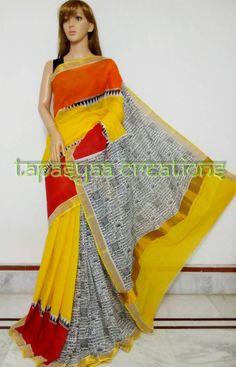 *******TAPASYAA CREATIONS******* Block print on kerala cotton Blouse: with bp For more details visit us at https://www.facebook.com/tapasyaacreations/