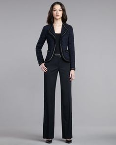 Chain-Detail Tweed Jacket, Rib-Knit Tank & Shelley Stretch Pants by St. John Collection at Neiman Marcus.
