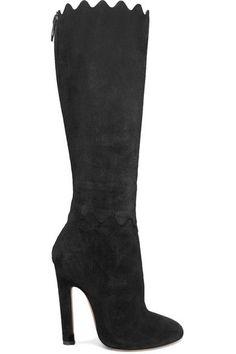 Alaïa - Scalloped Suede Knee Boots - Black - IT35.5