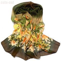 Fashion Style Floral Print Chiffon Wrap Shawl Scarf