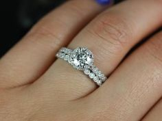 wedding band sets on hand petite bubbles halo hand milgrained moissanite diamond wedding set 3