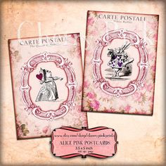 8 Pink ALICE in WONDERLAND POSTCARD digital por CherryPinkPrints, $5.00