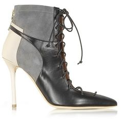 Malone Souliers Designer Shoes Color Block Nappa Leather and Stretch Suede Montana Bootie