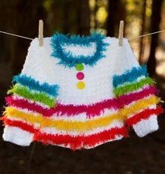 Fuzzy Rainbow Sweater
