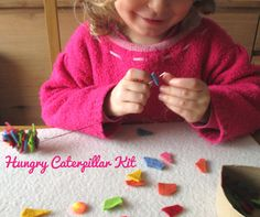 Felt Hungry Caterpillar Kit, Busy Bag for Kids, Quiet Kit for Children, Little Set to make a Small Felted Caterpillar, DIY craft kit