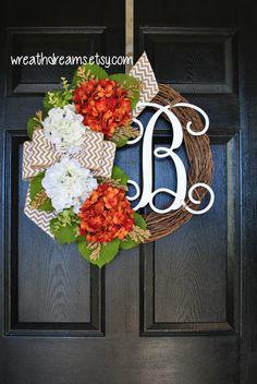 Orange & White Hydrangea Grapevine Wreath with by WreathDreams