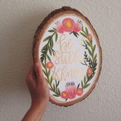 Custom Hand Lettered Wooden Slice Art by AngelaDavidsonDesign