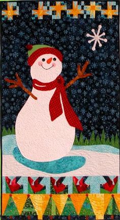 """Snowman wall hanging pattern, 26 x 49"""", at Quilted Frog"""