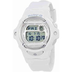 Casio Baby G White Resin Digital Ladies Watch ($50) ❤ liked on Polyvore featuring jewelry, watches, dial watches, casio watches, digital sport watch, white dial watches and white digital watch