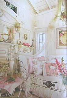 """shabby chic, this is how I invision my future """"craft room"""".....LOVE shabby chic! Just wana pile in that bed with a good mag and my dogs!"""