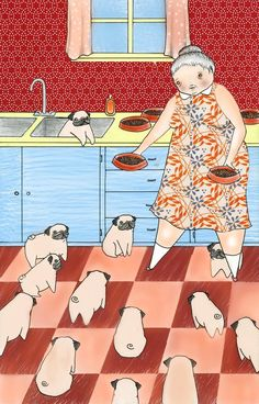 """This will be me someday. An old lady with a house of pugs, instead of the typical """"cat lady."""" My children will definitely worry that I have lost my mind. Jon will probably move out. I will be a pug hoarder.): Crazy Pug, Pug Lady, Lady Art, Art P Raza Pug, Old Pug, Fu Dog, Pugs And Kisses, Pug Art, Cute Pugs, Funny Pugs, Pug Puppies, Terrier Puppies"""