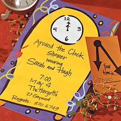A creative wedding shower idea, Around the Clock. Everyone gets assigned a time and brings a gift that the bride and groom would use at that time.