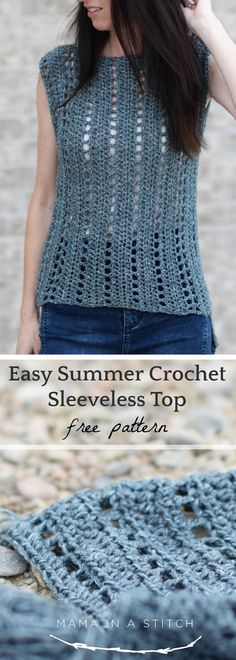 This sleeveless top is so easy to crochet and it's beautiful too! There are great tips if you're a beginner on how to follow the stitch pattern and pictures to help you along. #freecrochetpattern #summer #style #diy #crafts #easycrochet via @MamaInAStitch