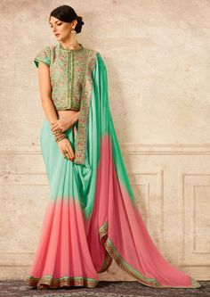 Wedding Flares Peach And Mint Georgette Embroidered Saree