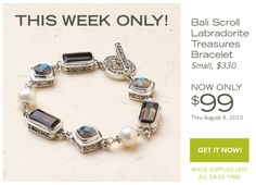 $99.00 Bali Scroll: Labradorite Treasures Bracelet while supplies last @ http://donnaaquilino.jewelry.willowhouse.com