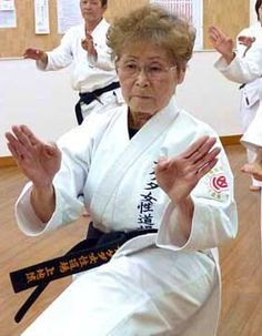 75-year old Tsuneko Machida, 4th dan. She started Karate at 63-years old. It is never too late. Martial arts for longevity