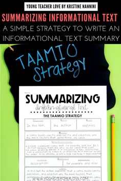 Do your students need help summarizing informational text? Use the TAAMIO strategy to write great informational text summaries. Summarizing Activities, Summarize Nonfiction, 6th Grade Ela, Fourth Grade, Third Grade, Teaching Main Idea, Teaching Ideas, Transition Words, Common Core Curriculum