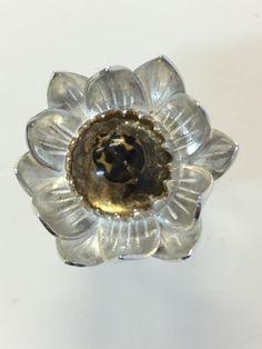 Flower Ring. Sterling Silver, Brass Leaf, Resin, Ladybug