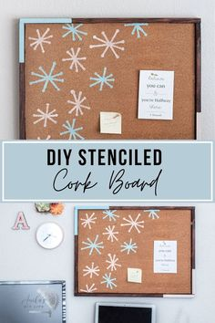 Easy DIY corkboard with frame. I love how she stenciled it to add a fun pattern and color! So easy to make from scrap wood! #AnikasDIYLife Wood Projects For Beginners, Diy Wood Projects, Easy Woodworking Projects, Woodworking Plans, Diy Cork Board, Cool Patterns, Kids Furniture, Easy Diy, Things To Sell