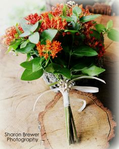 Butterfly and Periwinkle Simple Wedding Orange Gracious Oaks Bouquet
