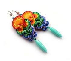 Multicolor RAINBOW soutache earrings colorful handmade embroidery green blue red yellow orange satin strips TOHO oaak gift for her under 50 Etsy Jewelry, Handmade Jewelry, Handmade Necklaces, Paper Quilling Earrings, Soutache Necklace, Beaded Embroidery, Bridesmaid Gifts, Shibori, Jewelry Design