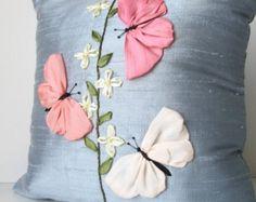 Schmetterlinge Kissen Kissen Abdeckung - Silk Ribbon Embroidery - Seide