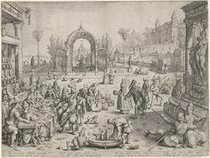 Jacob Matham | Parabel van de rijke man en de arme Lazarus, Jacob Matham, Nicolaas Jansz. van Wassenaar, 1606 | De rijke man uit de parabel uit Luc. 16:19-31, in het midden zittend aan een rijk gedekte tafel, houdt een feestmaal terwijl de arme Lazarus honger lijdt en zijn wonden gelikt worden door de honden rechts in de achtergrond. Vele elegant geklede figuren feesten mee met de rijke man, waaronder gemaskerde figuren en minnekozende paren. Een dienaar vult glazen en kruiken. Rechts op de…