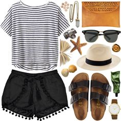 Polyvore fedora Ray-Bans Birkenstocks stripes