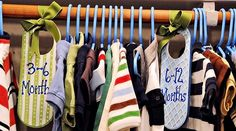 Clothing Size Dividers - use wooden door knob signs, decorate, then hang with ribbon (or cut slot to slip over hanging rod) between clothes of different sizes.  Could also label to organize long sleeve, short sleeve, work clothes, dress clothes, etc.