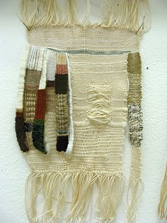 """cinoh: stephany latham Tiny Woven Textile Series: Floating 2012 Tapestry Weaving 8"""" x 6"""" This tiny textile was created on a small tapestry loom featuring wool, cotton, and linen threads. All threads were spun uniquely on bobbin winders, and woven to expose the threads in a """"floating"""" state."""
