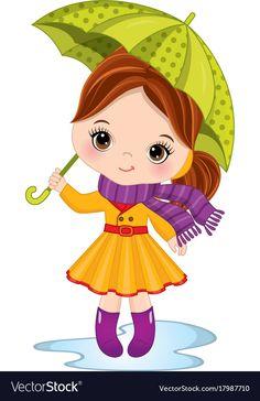 Cute little girl with umbrella Royalty Free Vector Image , Cartoon Monkey, Cartoon Clip, Coat Pattern Sewing, Coat Patterns, Free Vector Images, Vector Free, Baby Girl Owl, Raincoat Outfit, Christmas Owls