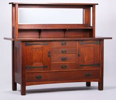 "1480. Rare L&JG Stickley strap-hinge sideboard with open-hutch top. Signed ""L&JG Stickley Handcraft"". Original finish except top surface refinished. 72″w x 61″h x 25″d $18,000"