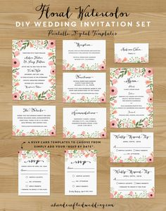 Download this whimsical DIY Floral Watercolor Wedding Invitation Set and print as many copies as you need! ahandcraftedwedding.com #wedding #printables