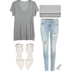 Jeans, tee shirt and white heels