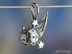 Comet CHARM or PENDANT Sterling Silver Night Sky Stars 3D Solid .925