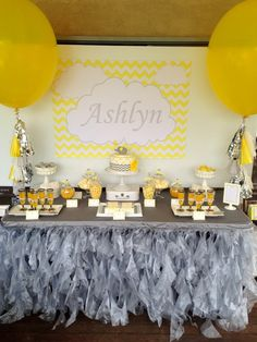 YELLOW & GREY CHEVRON-ELEPHANT THEMED BIRTHDAY
