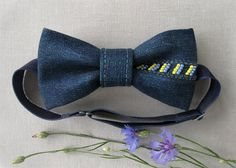 Handmade blue jean bowtie embroidered with yellow-blue beads national colors of Ukraine