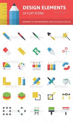 Design Elements Flat Icons by PixelInspired This flat icons set is designed and optimized to look visually readable at small size, yet contain little details that show their