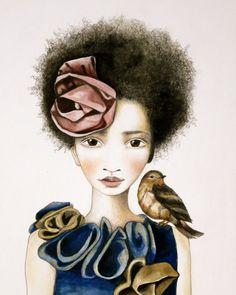 lámina acuarela de la rosa y el pájaro