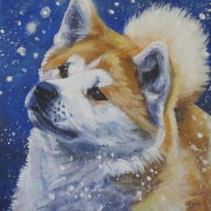 Japanese Akita art CANVAS print of LA Shepard от TheDogLover