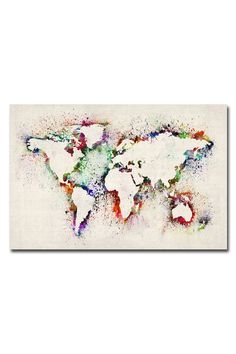 Michael Tompsett World Map - Paint Splashes, Giclee Print on Canvas -